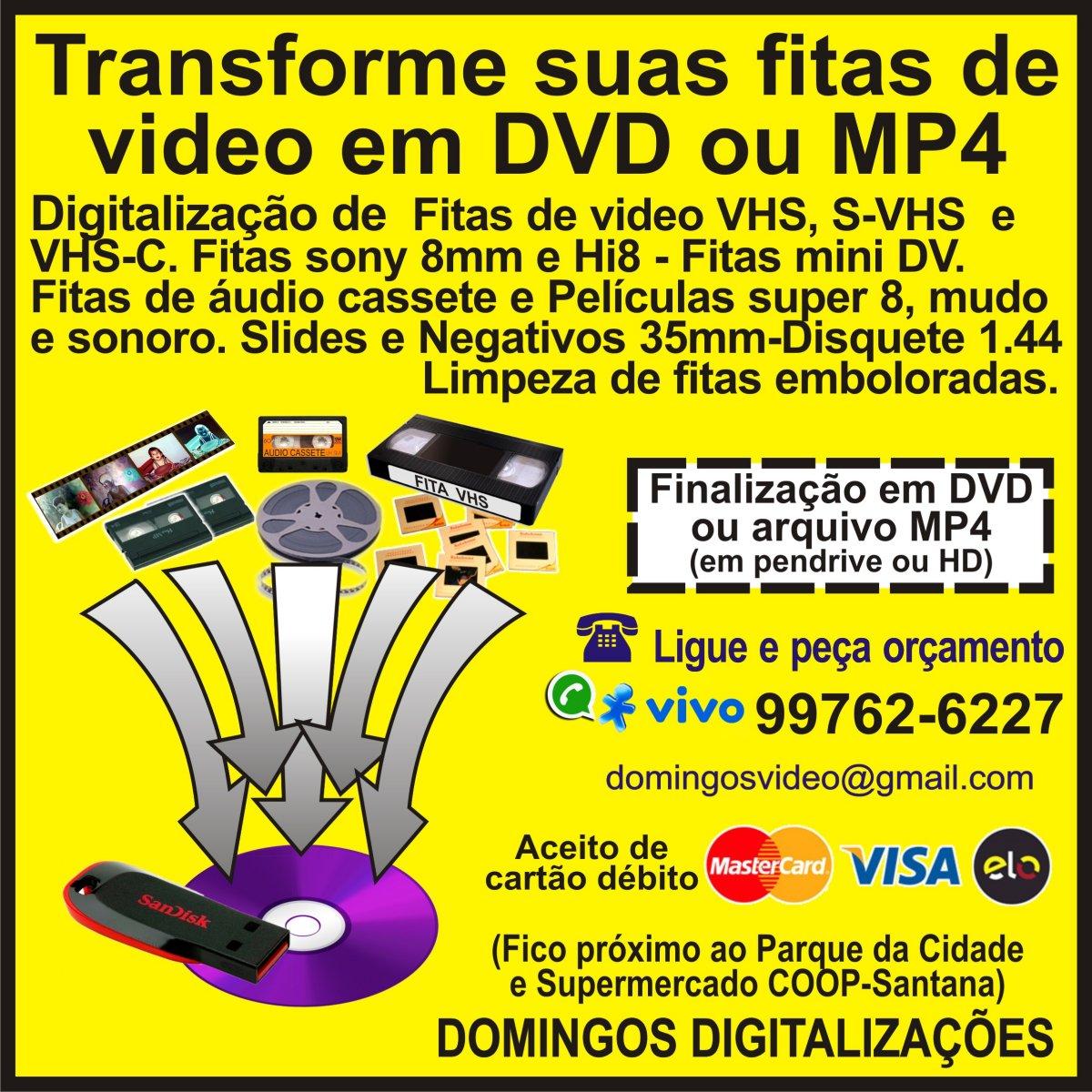 guia sjc, C�PIAS DE FITAS VHS PARA DVD OU ARQUIVO MP4